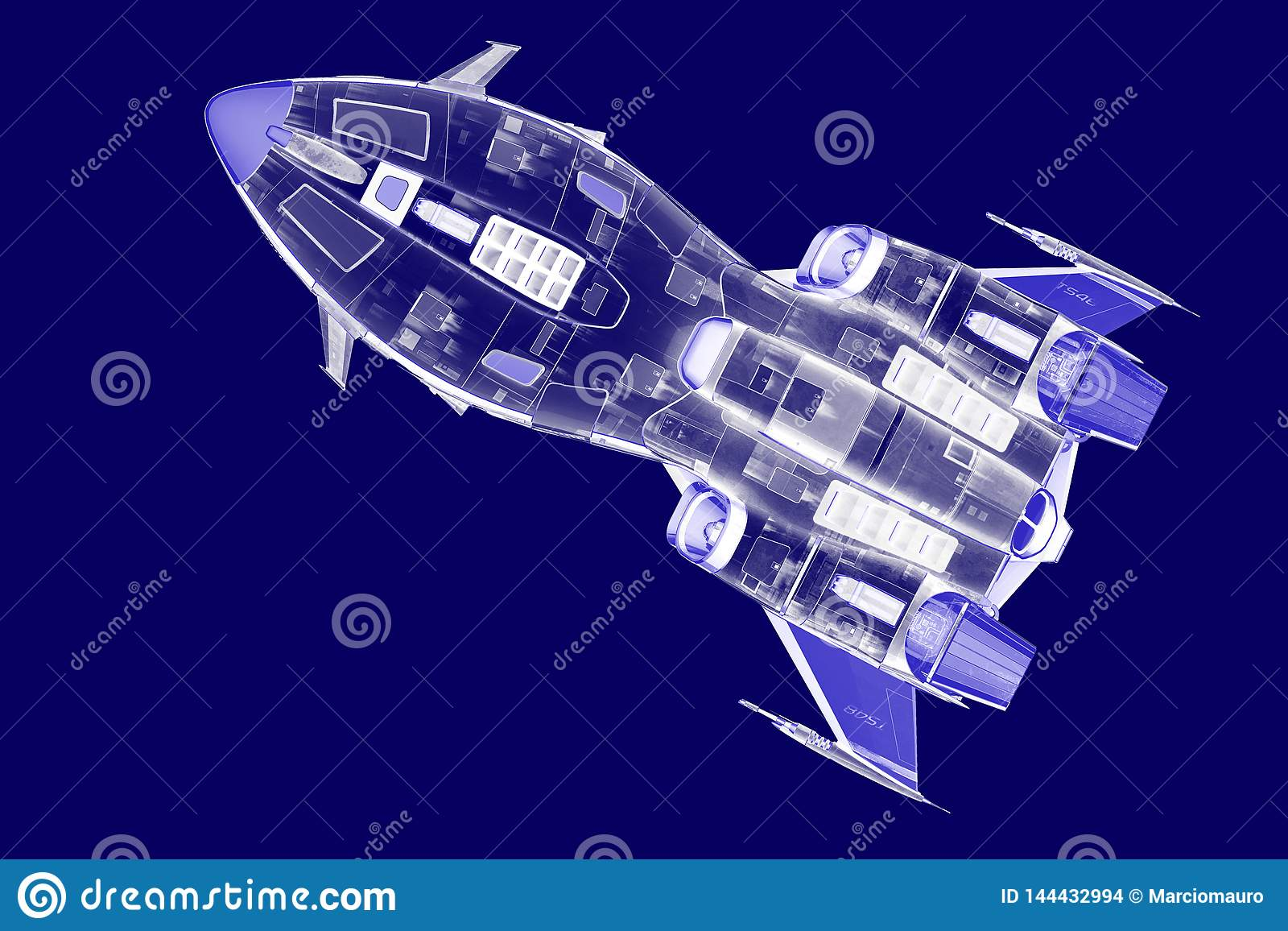 Blue Spaceship Blue Print Duotone Stock Illustration - Illustration