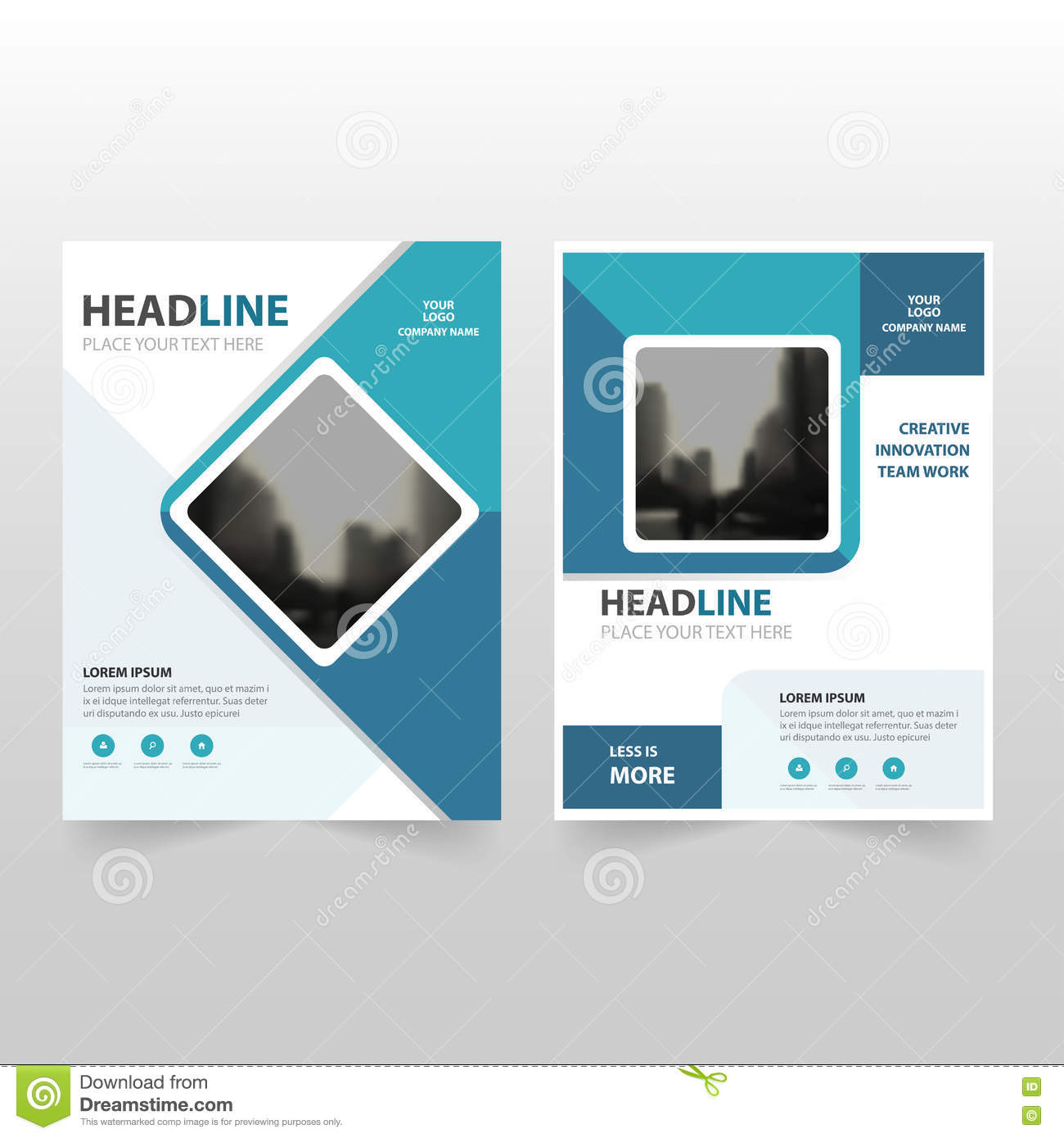 book brochure template - blue square vector annual report leaflet brochure flyer