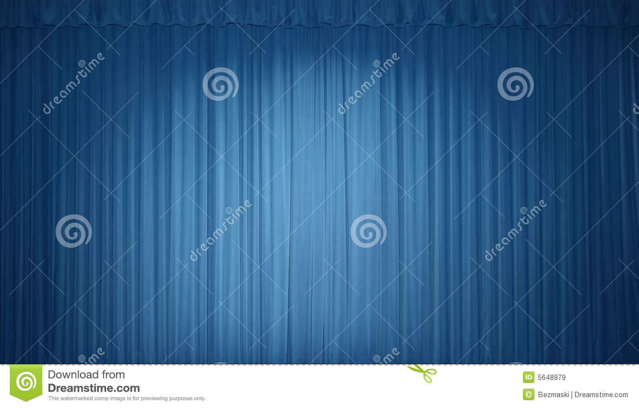 Curtain Blue Night Sky With Stars, As In The Theater, A Blank For Invitation Or Ticket, Cartoon ...