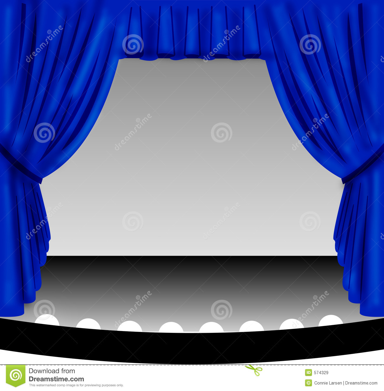 ... of an old-fashioned theater stage with a draped blue fabric curtain