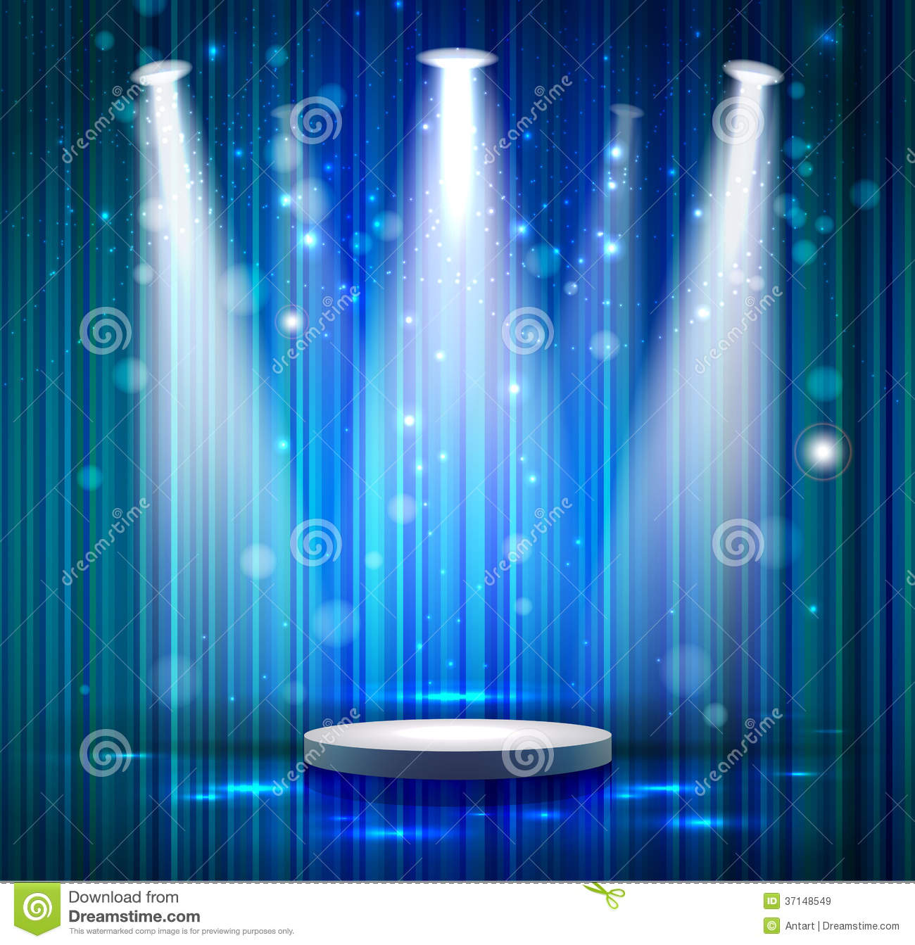Stage curtains spotlight - Blue Stage Royalty Free Stock Images