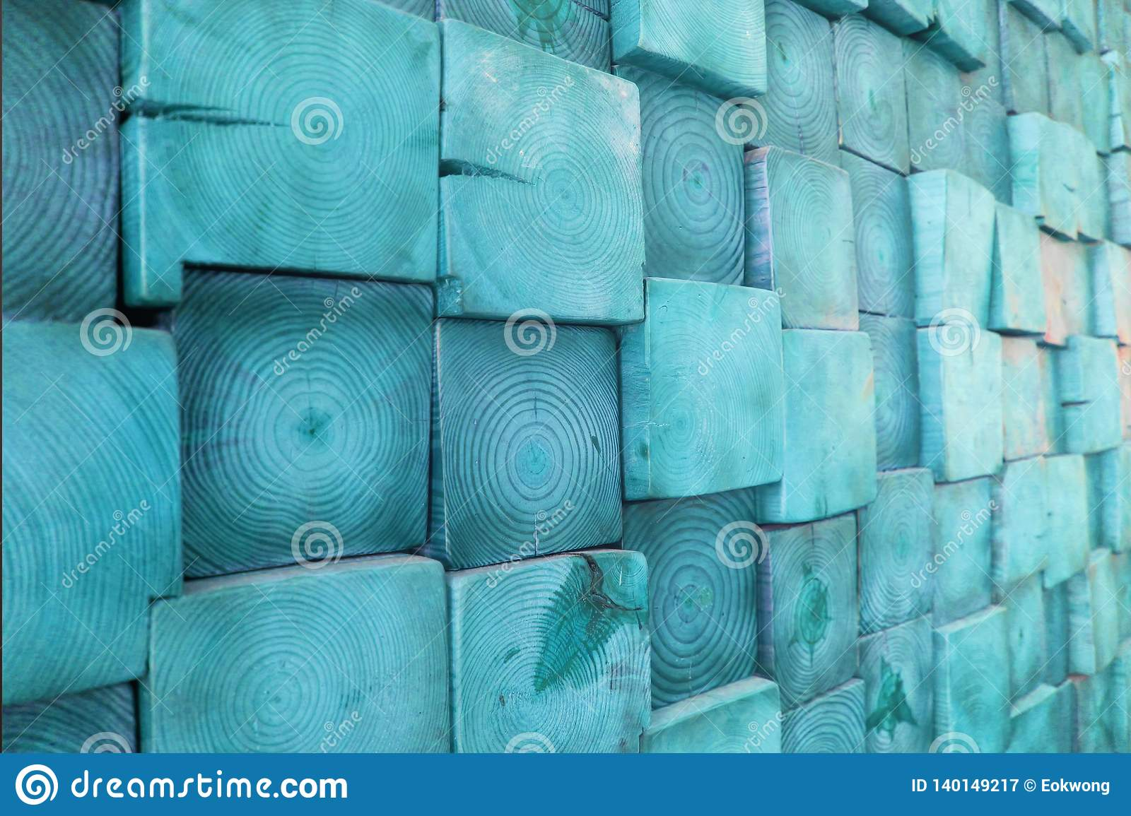 Blue Stained Wood Block Wall, Showing Wood Grain and Cracks - Rustic Home Decor