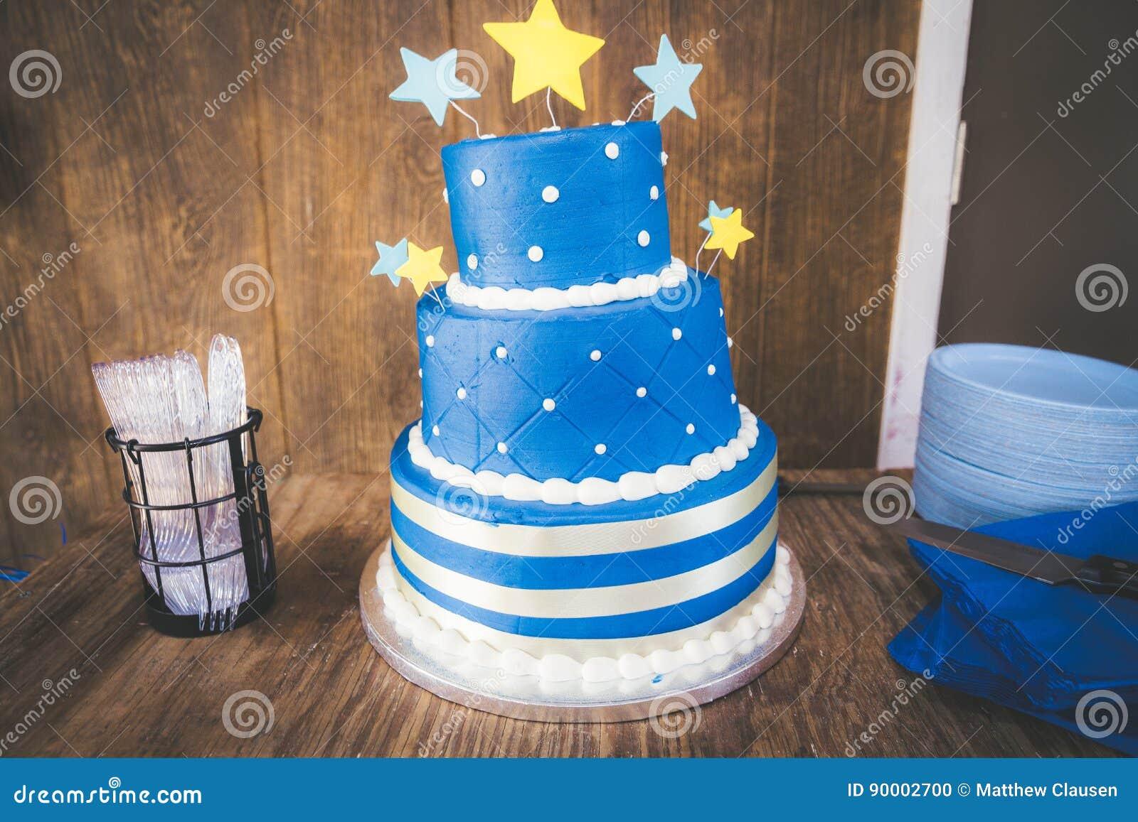 Wondrous Blue Star Birthday Cake Stock Photo Image Of Frame Baby 90002700 Personalised Birthday Cards Veneteletsinfo
