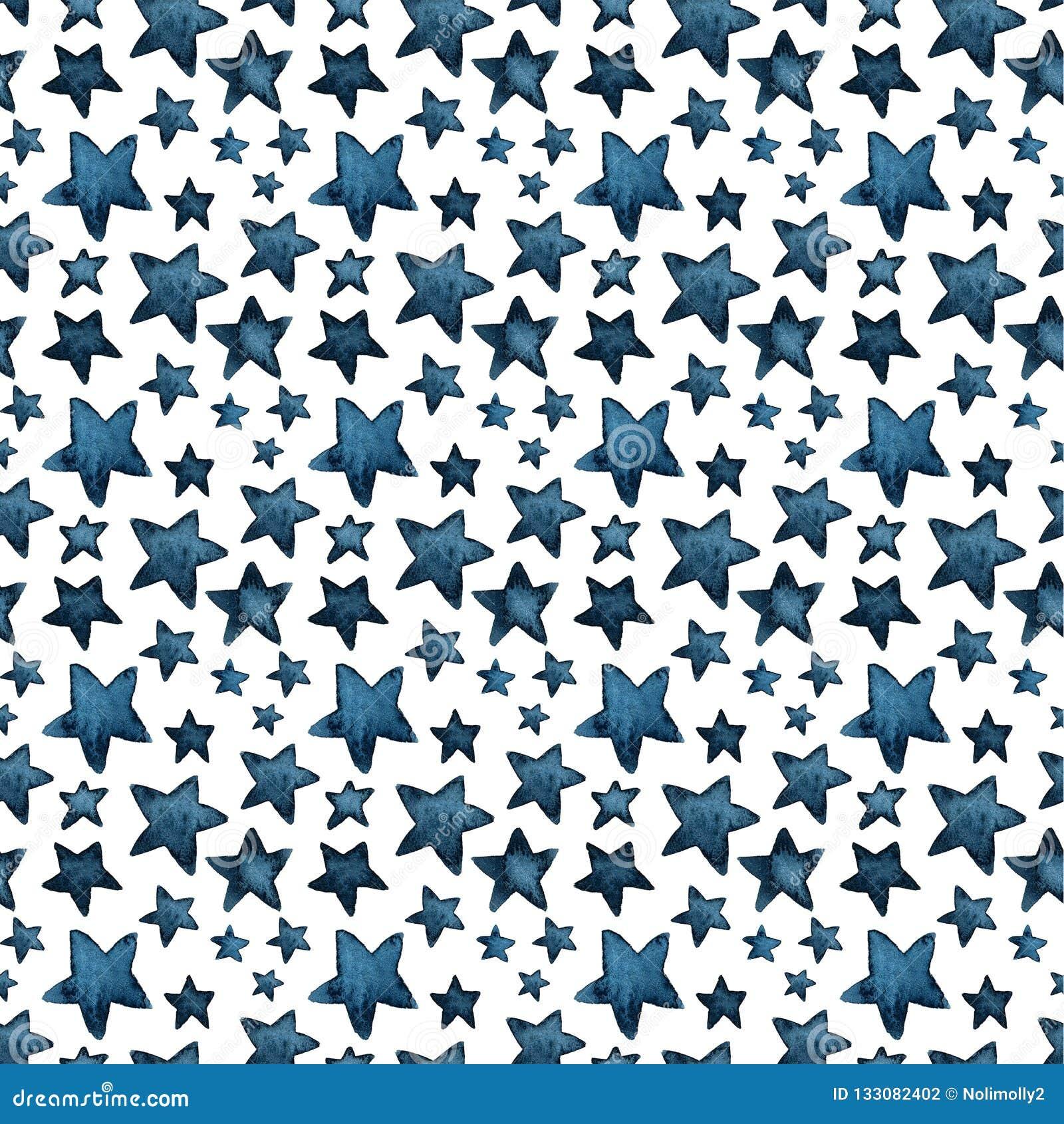 Cute big and small blue stars, salute of stars. pattern