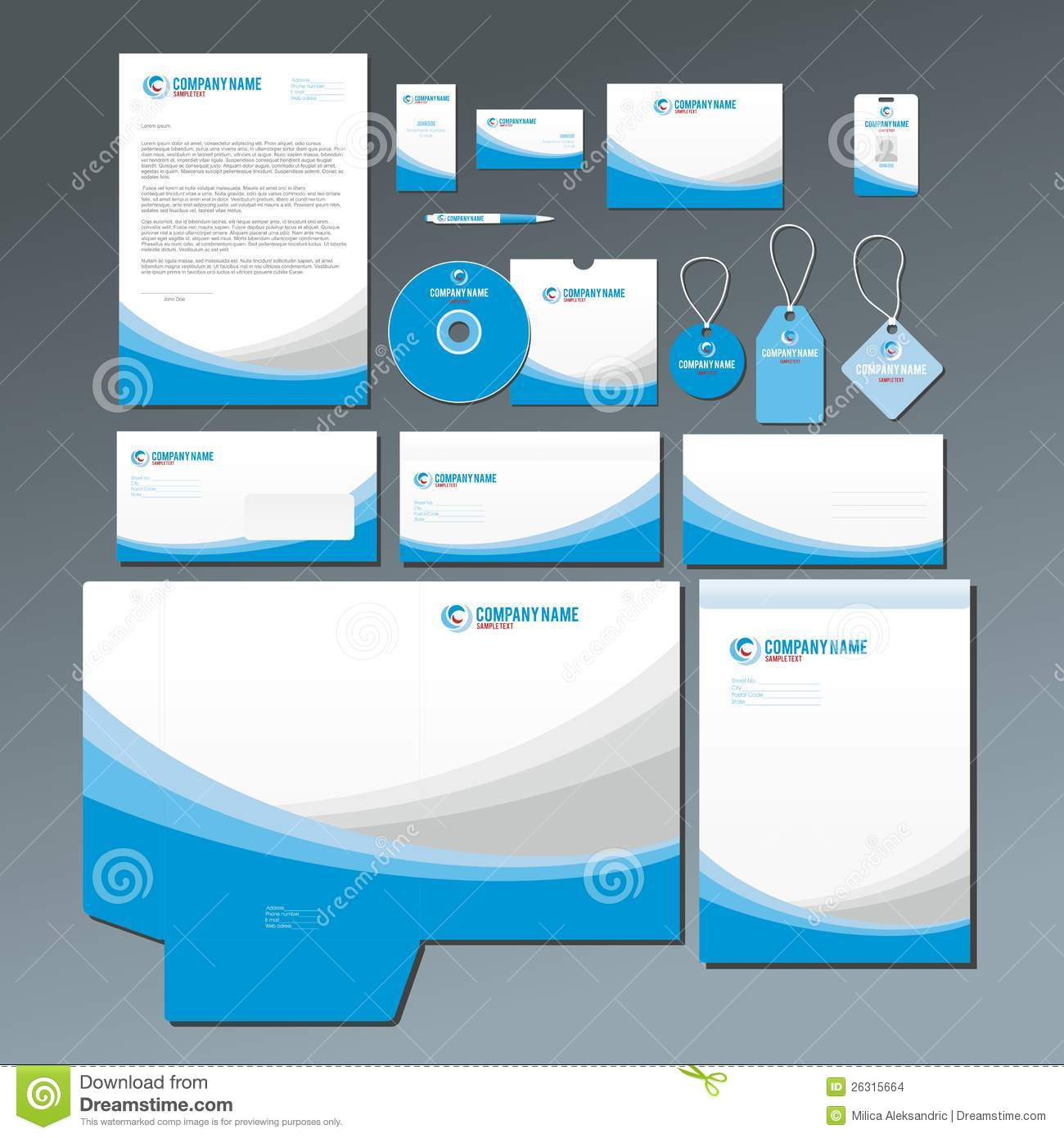 Blue Stationery Set Stock Images Image 26315664