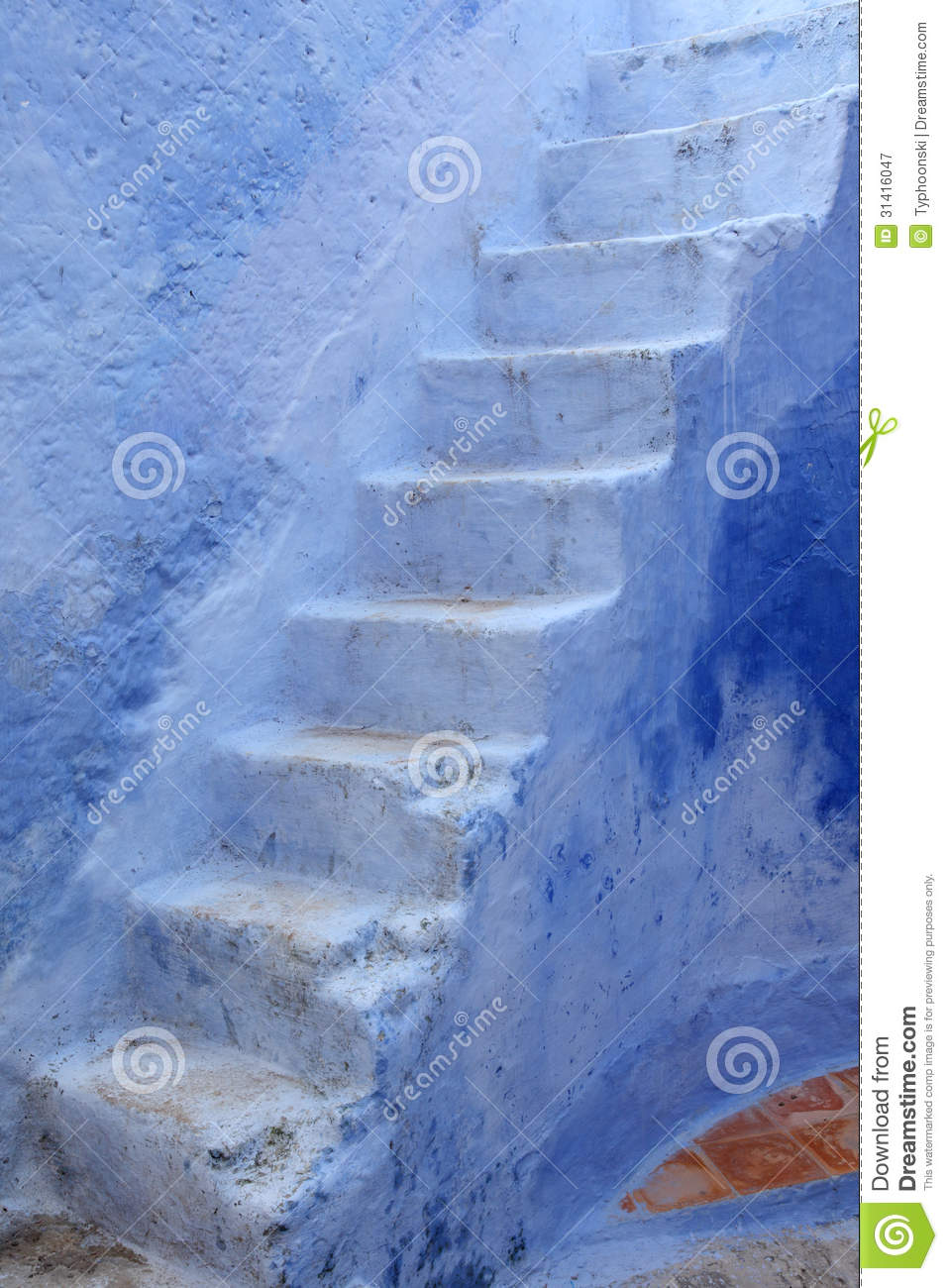 Blue Steps To Success: Blue Steps In Chefchaouen, Morocco Royalty Free Stock