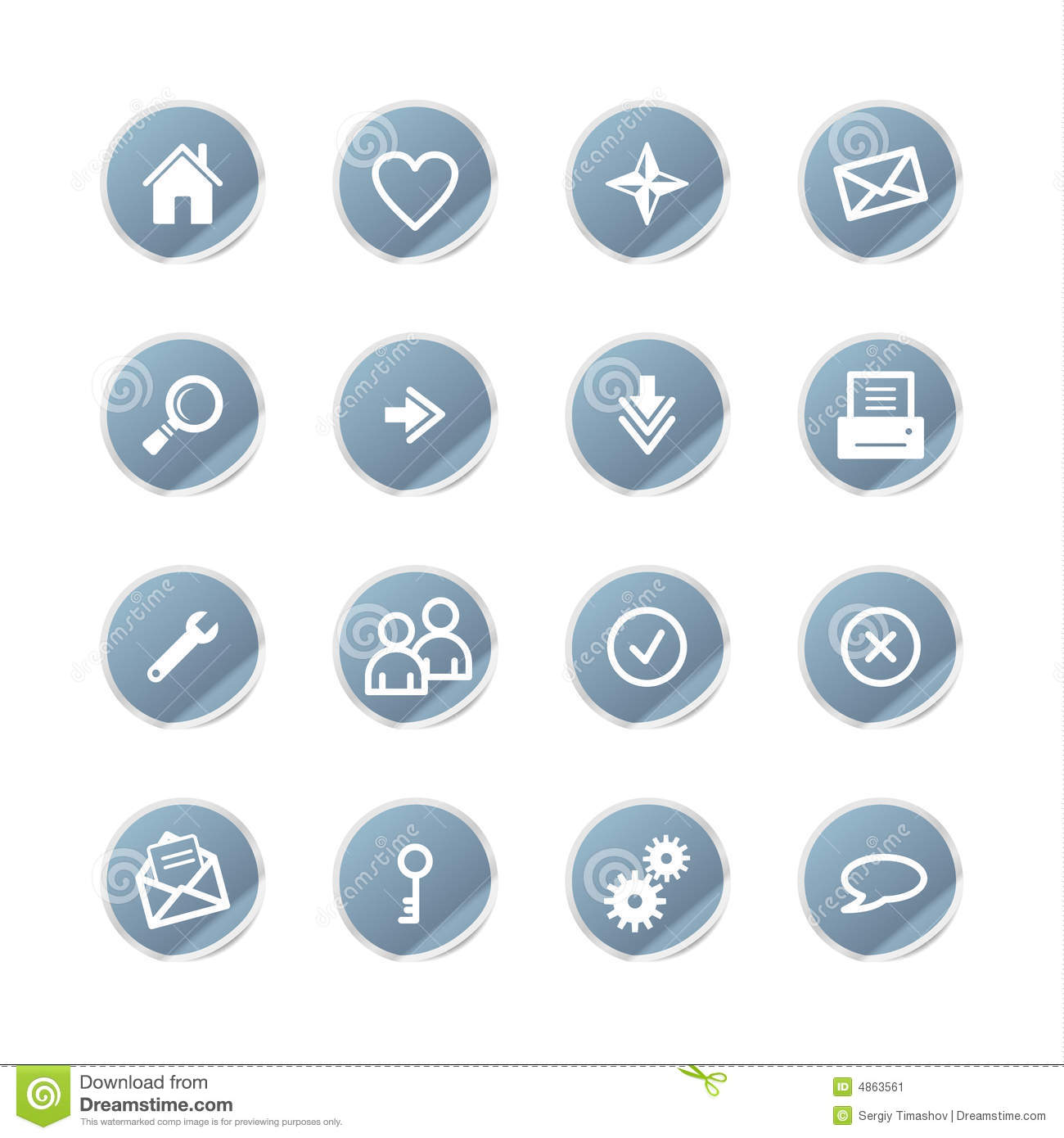 Blue Sticker Web Icons Cartoon Vector | CartoonDealer.com ...