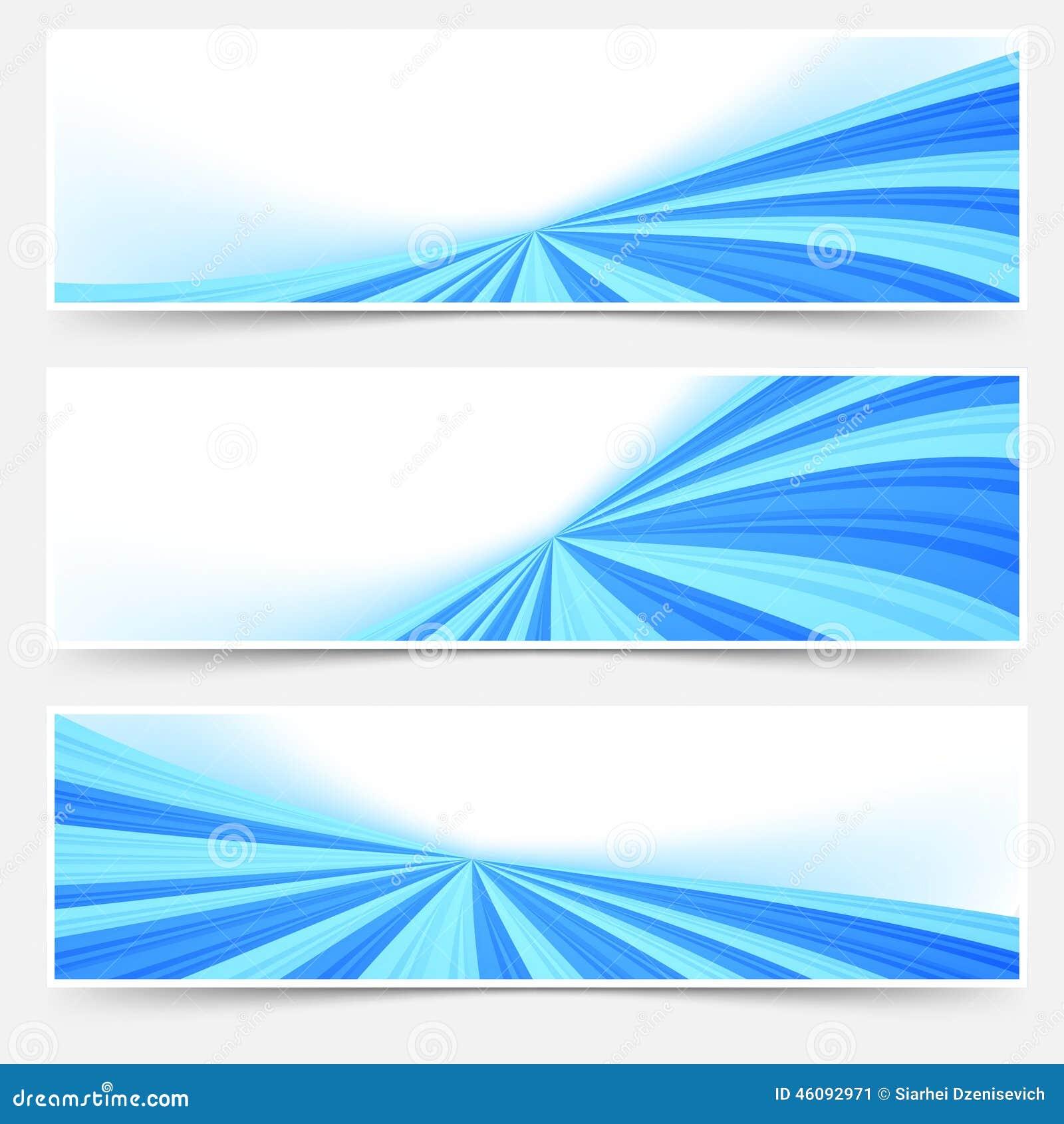 Footer Site Map: Blue Stream Swoosh Header Footer Web Set Stock Vector