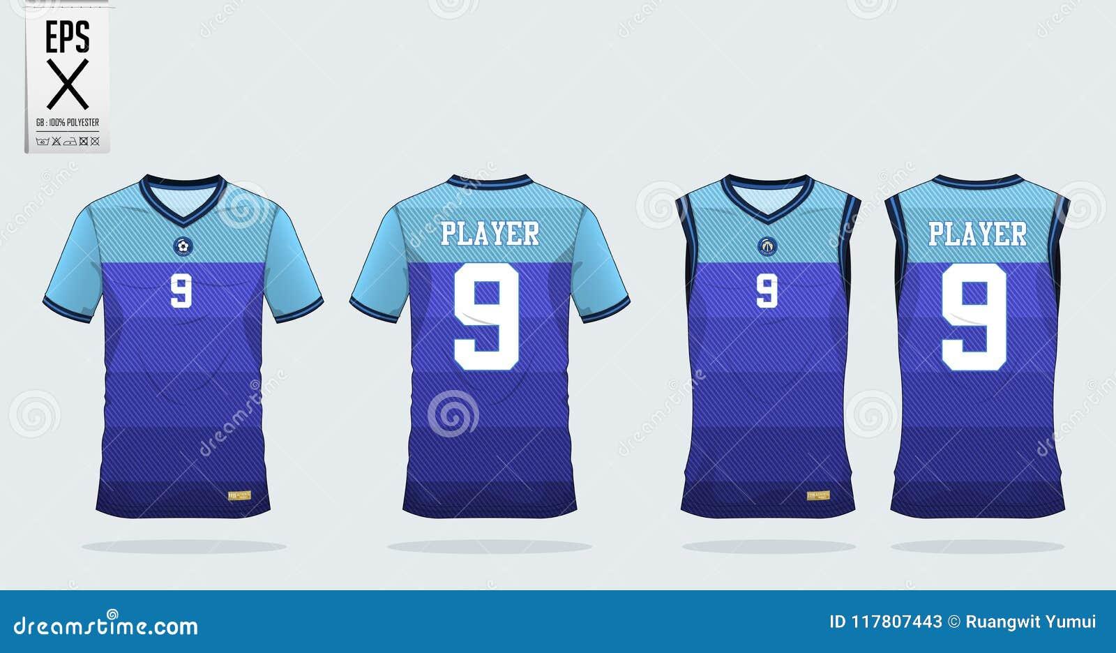Blue Stripe Pattern T Shirt Sport Design Template For Soccer Jersey
