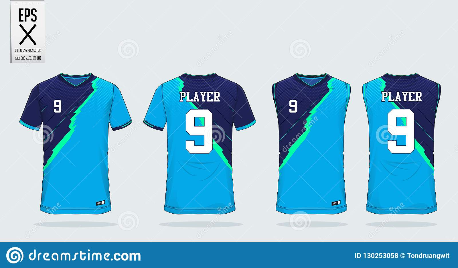 dd230d39d Blue Stripe Pattern T-shirt Sport Design Template For Soccer Jersey ...