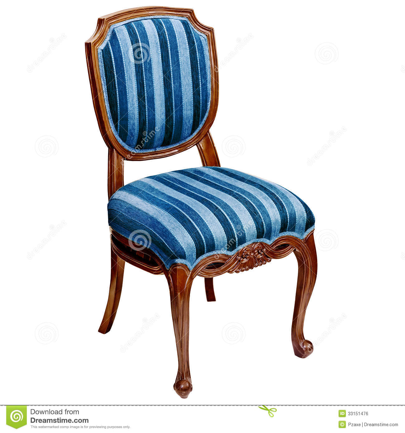 Blue Striped Chair Isolated On White Background Royalty