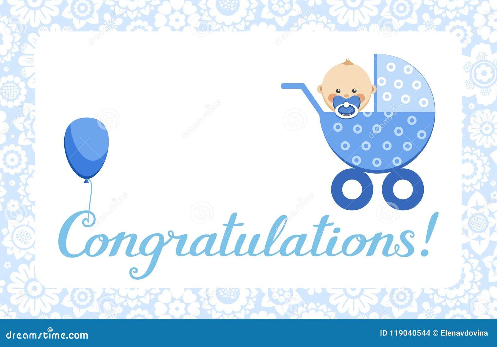 Congratulations, Baby Boy, Card, English, Vector. Stock Vector ...