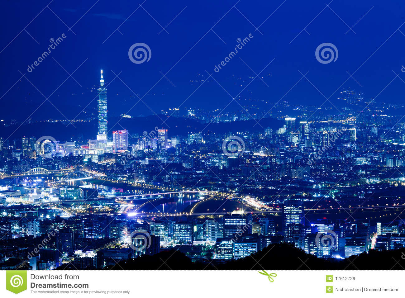 Blue style Night scenes of the Taipei city, Taiwan