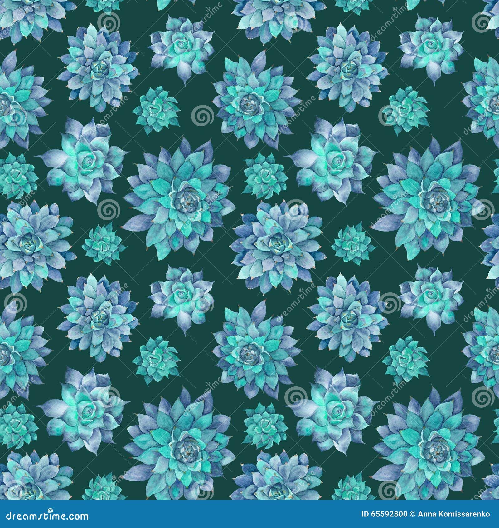 Blue Succulent Watercolor Pattern Stock Illustration Illustration Of Leaf Background 65592800