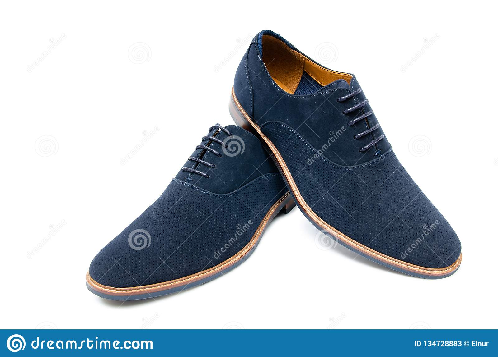 The blue suede shoes isolated on white background