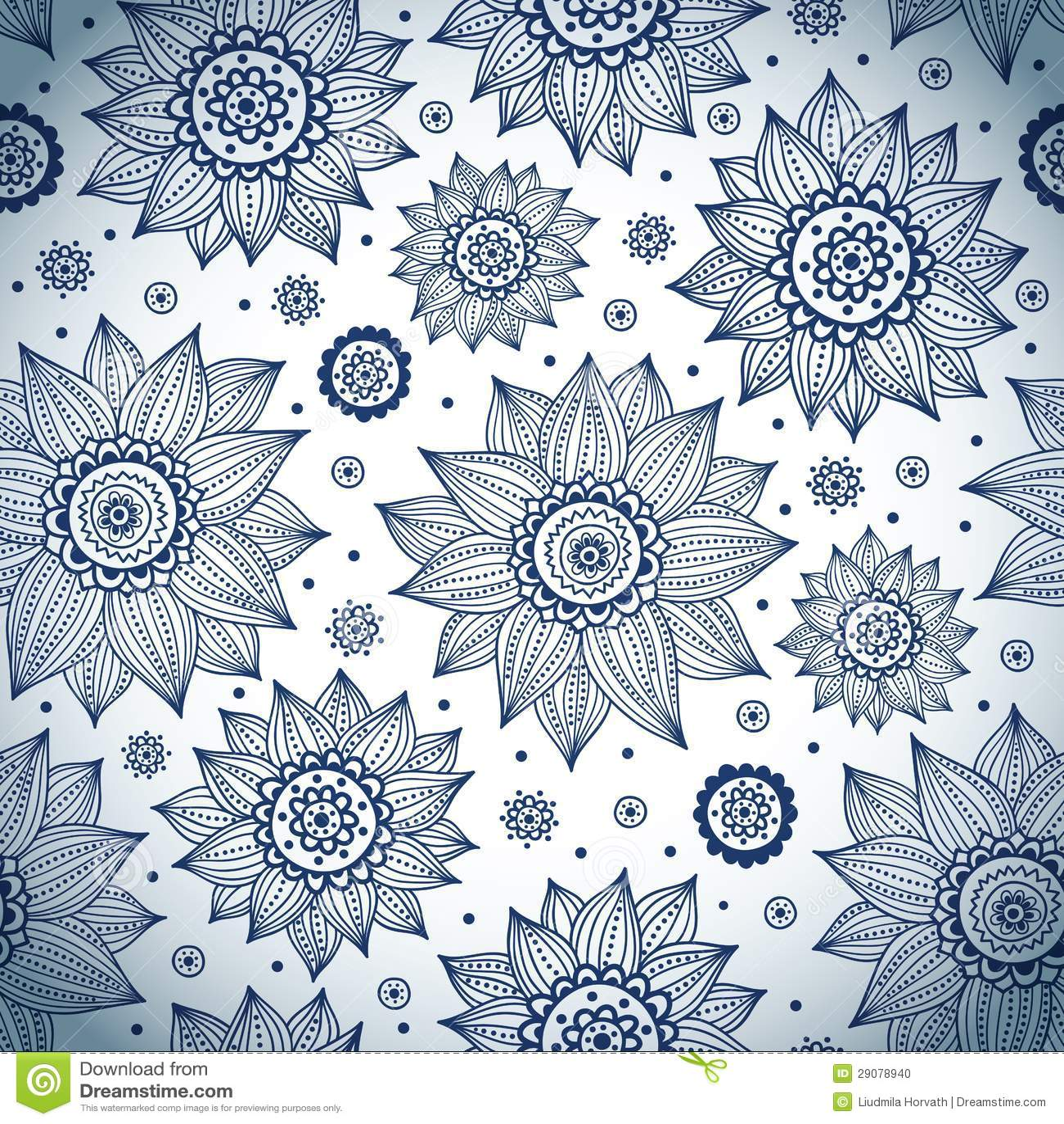 Blue sunflower pattern