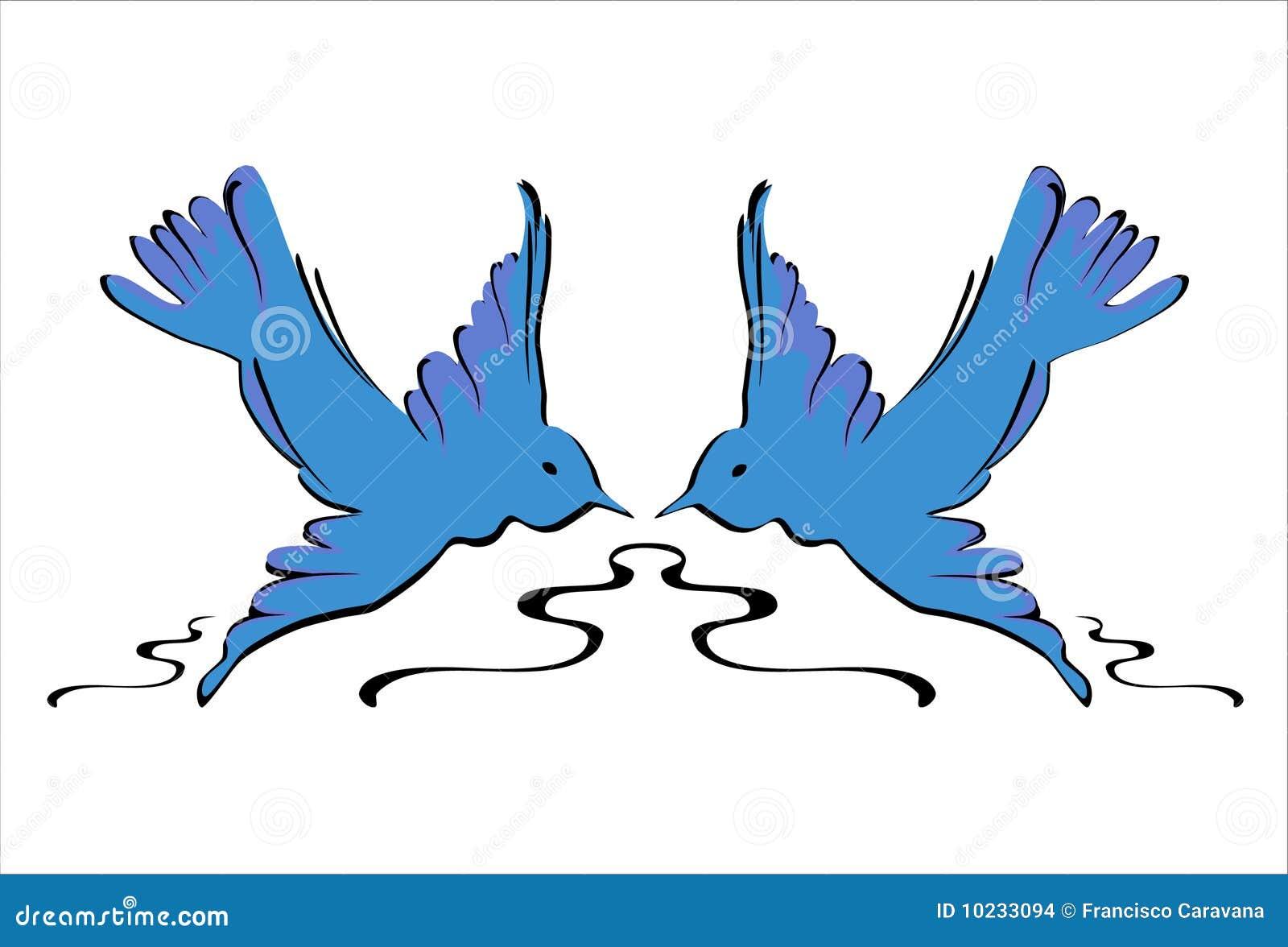 Blue Swallows - Vector