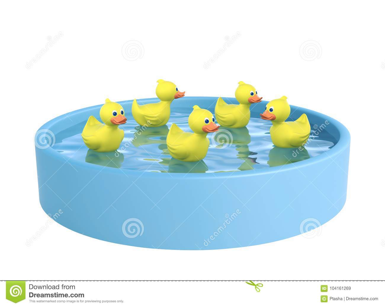Blue Swimming Pool And Five Rubber Ducks With Clipping