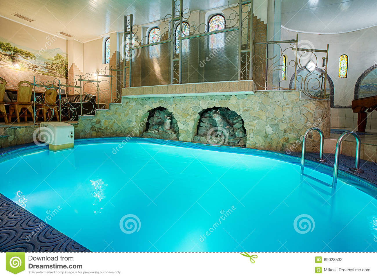 modern interior of swimming pool stock photo 43182126