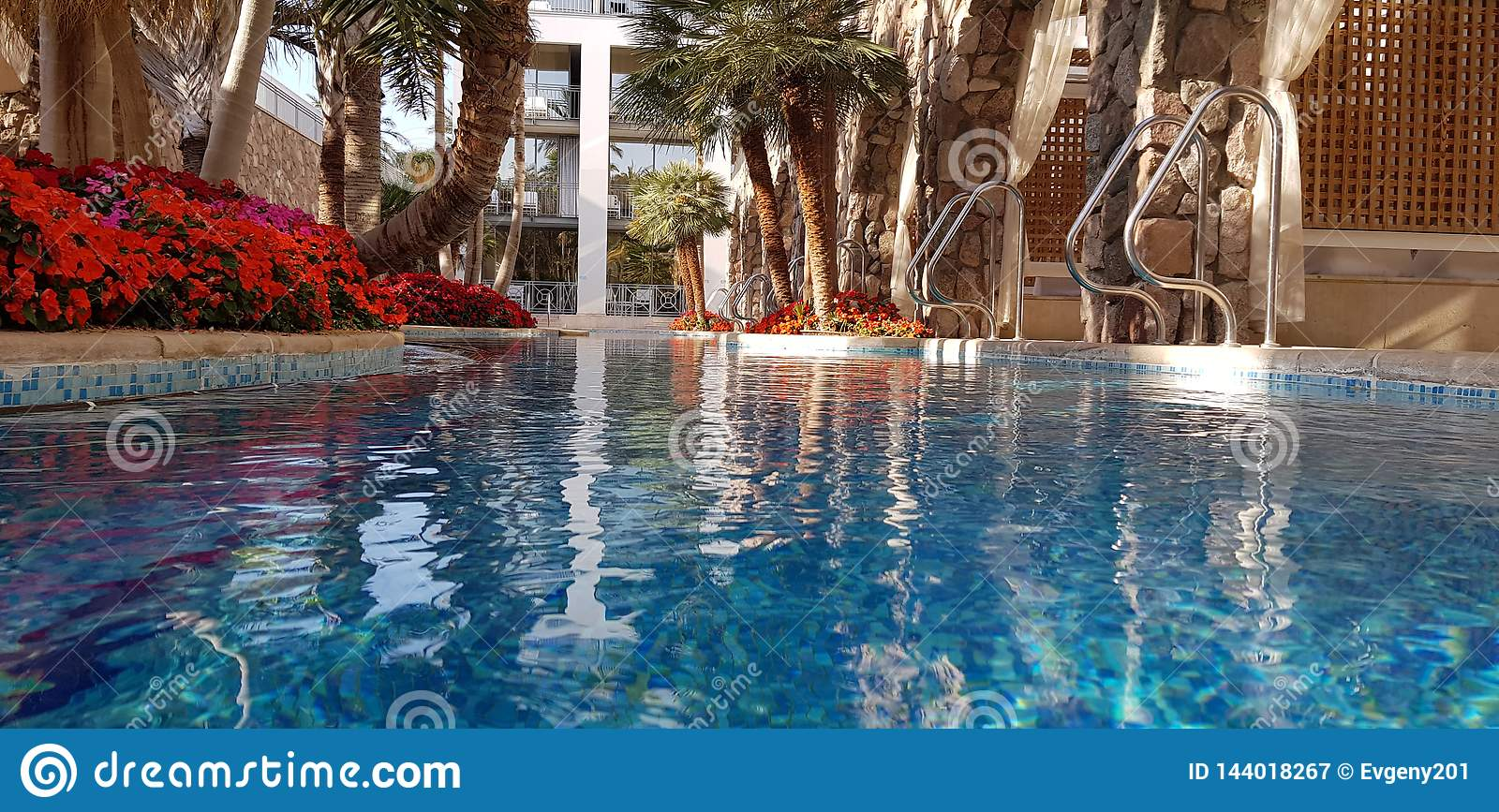 Blue Swimming Pool View From Water Level Stock Image - Image ...