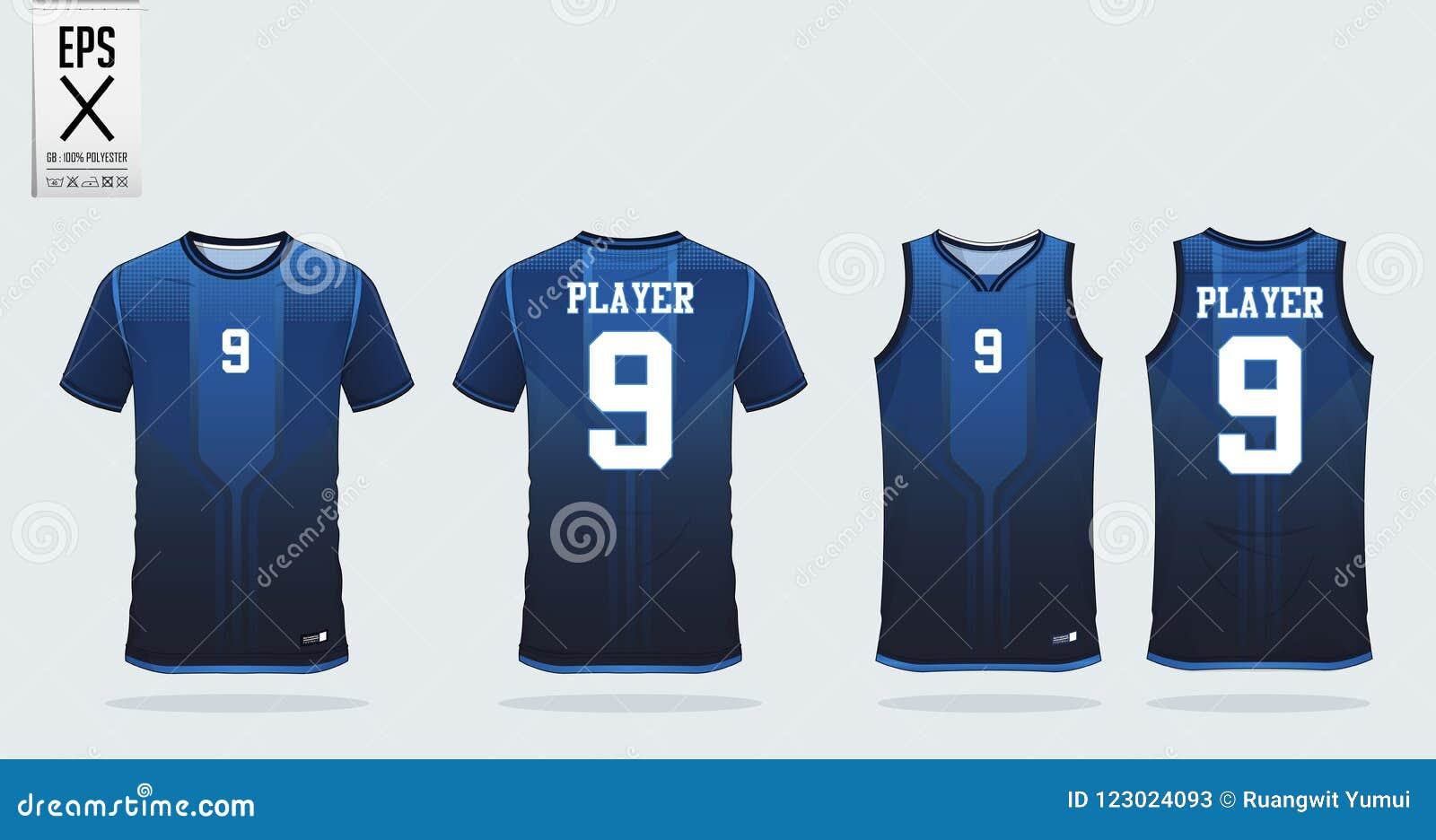 blue t shirt sport design template for soccer jersey football kit