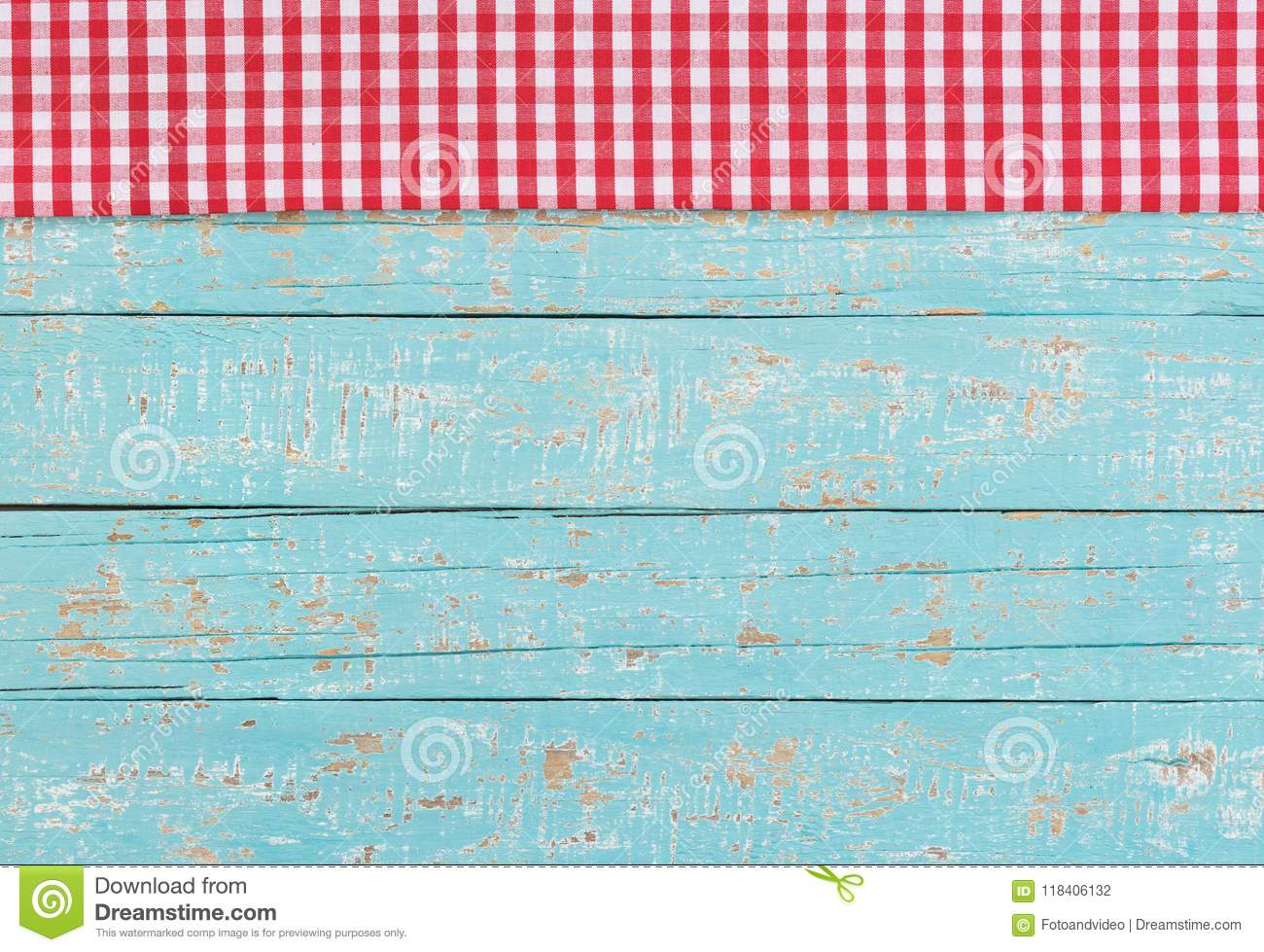 Rustic Picnic Tablecloth On Blue Wooden Table Background ...