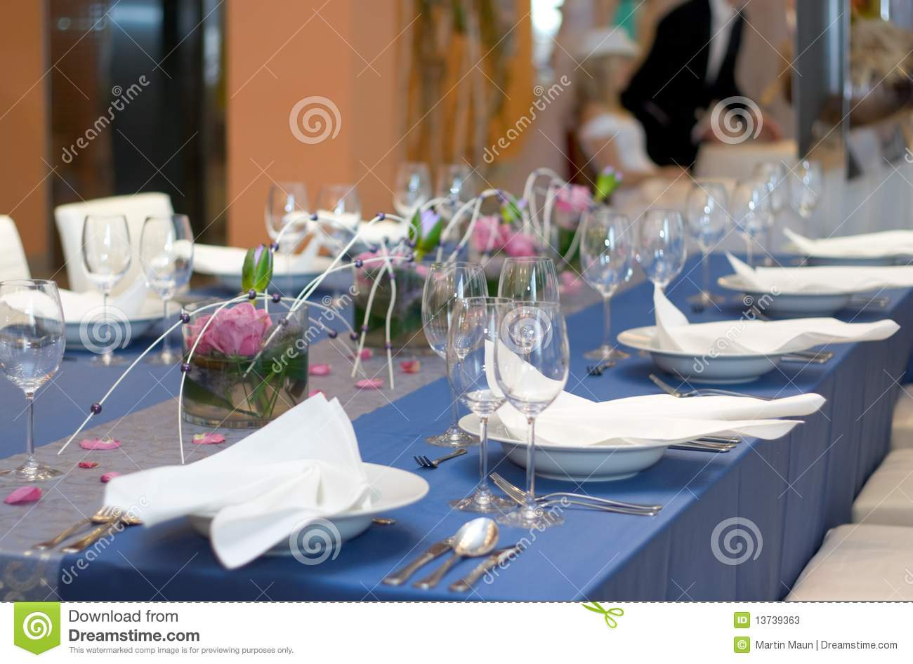 How To Set A Dinner Table blue table set for dinner stock photos - image: 13739363