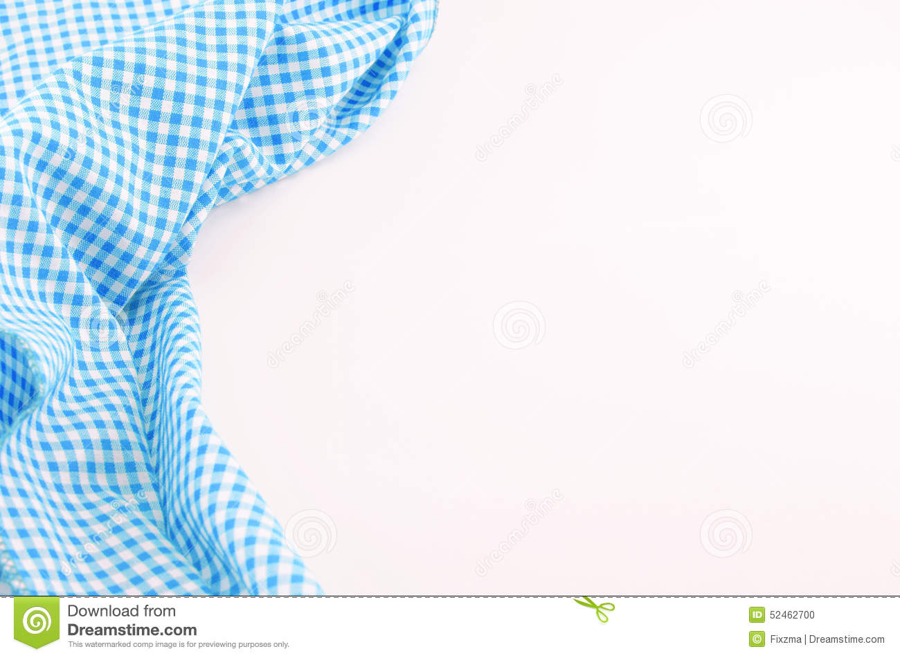 Blue tablecloth background - Blue Tablecloth Textile On White Background Stock Photo