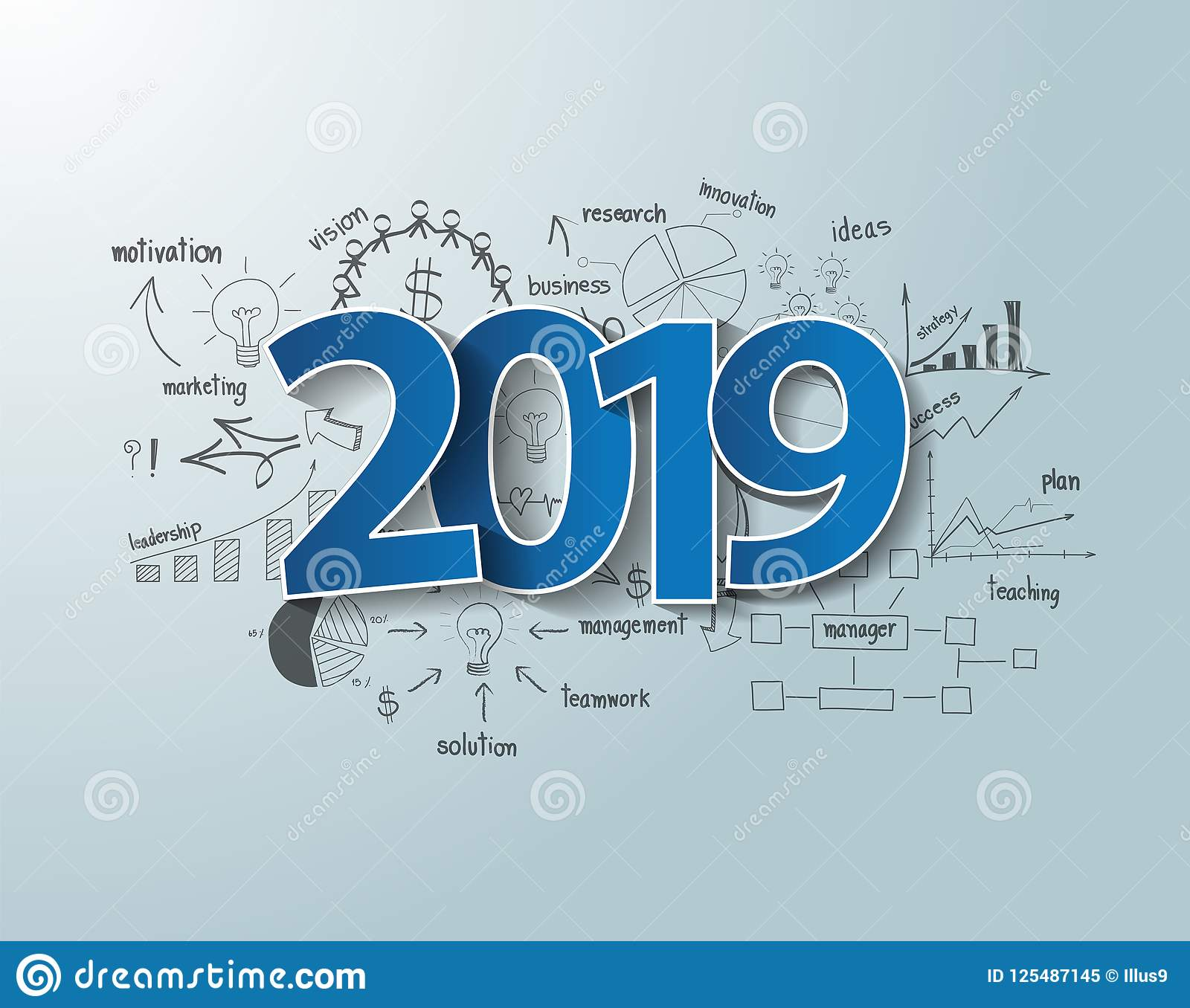 Blue Tags Label 2019 Text Design On Creative Thinking Drawing Charts ...