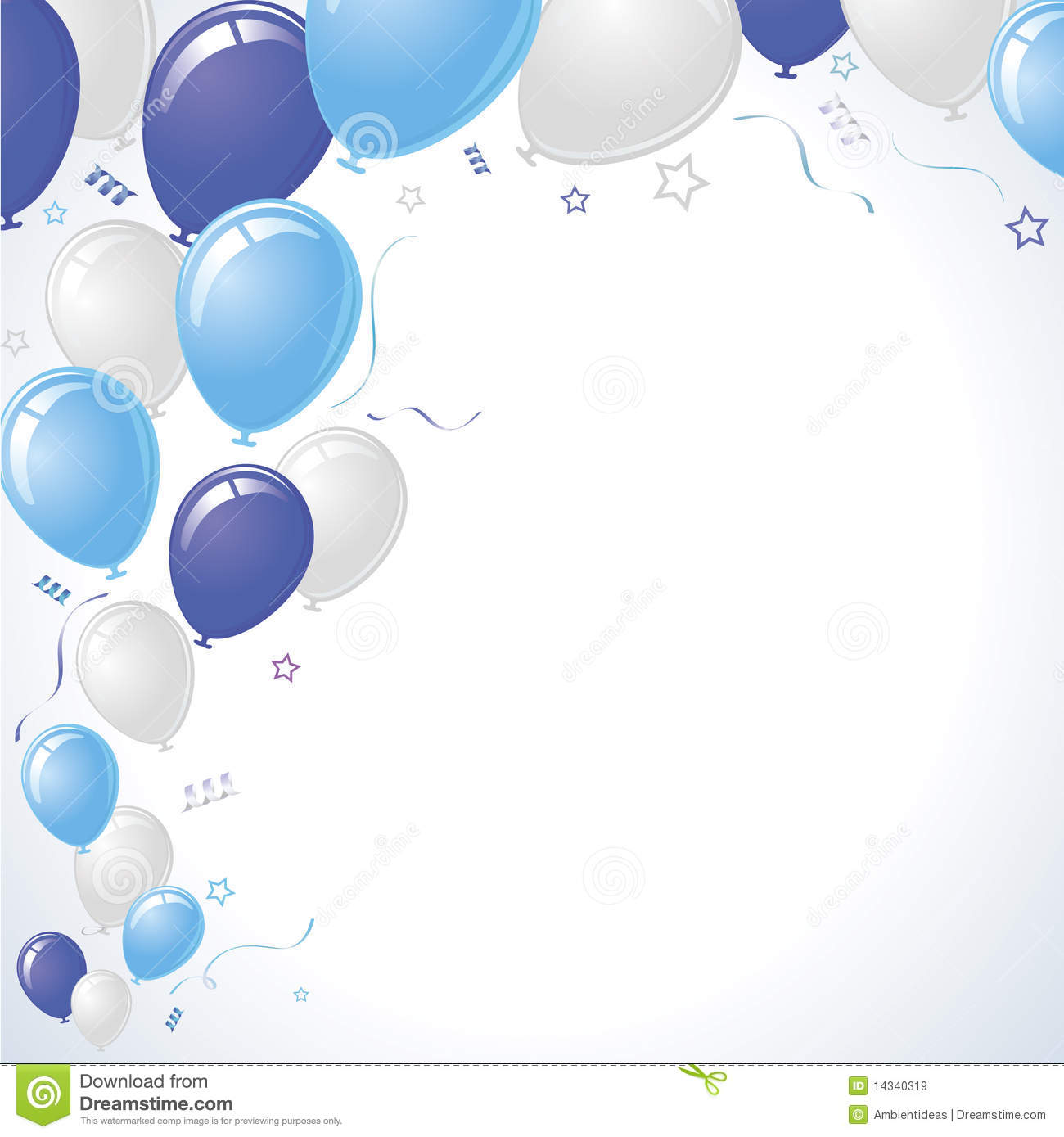 Blue And Teal Party Balloons Rising Royalty Free Stock