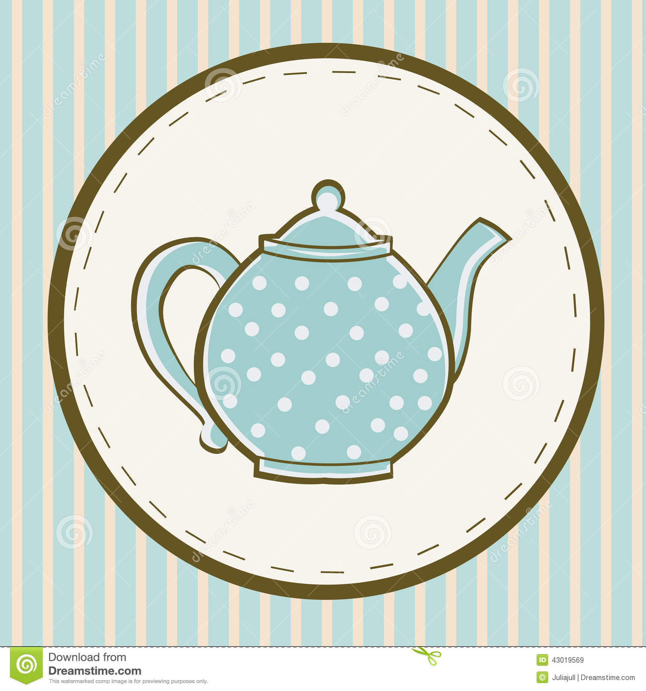 Blue Teapot With Dots On Colored Background Stock Vector