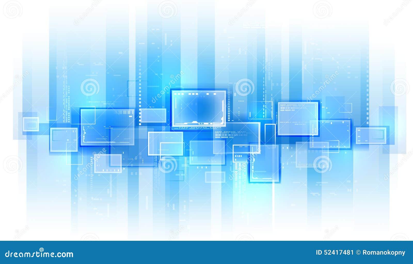 Blue Technology: Blue Tech Background. Stock Vector. Illustration Of Line