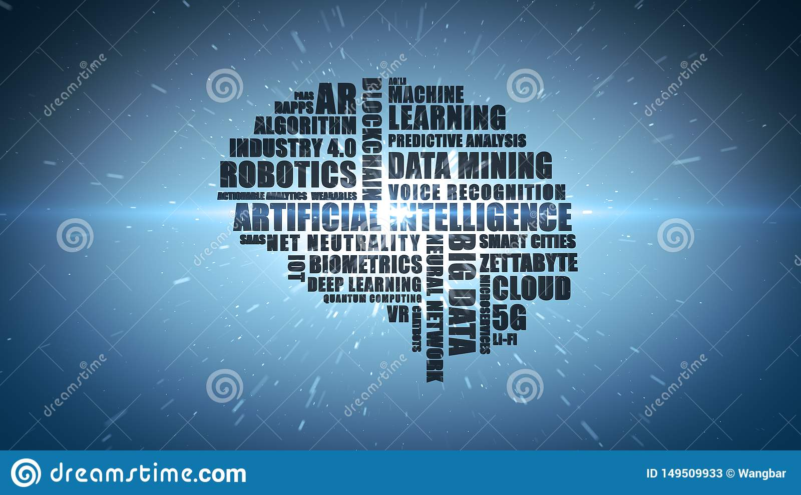 Blue technology buzzword wordcloud for Artificial Intelligence