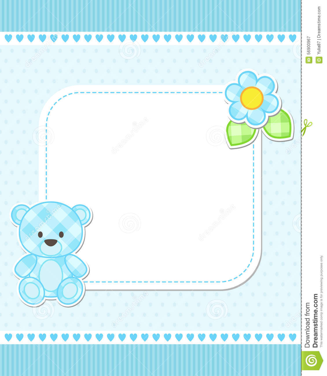 Blue teddy bear card stock vector Image of invitation 56900967 – Baby Boy Birth Announcements Templates