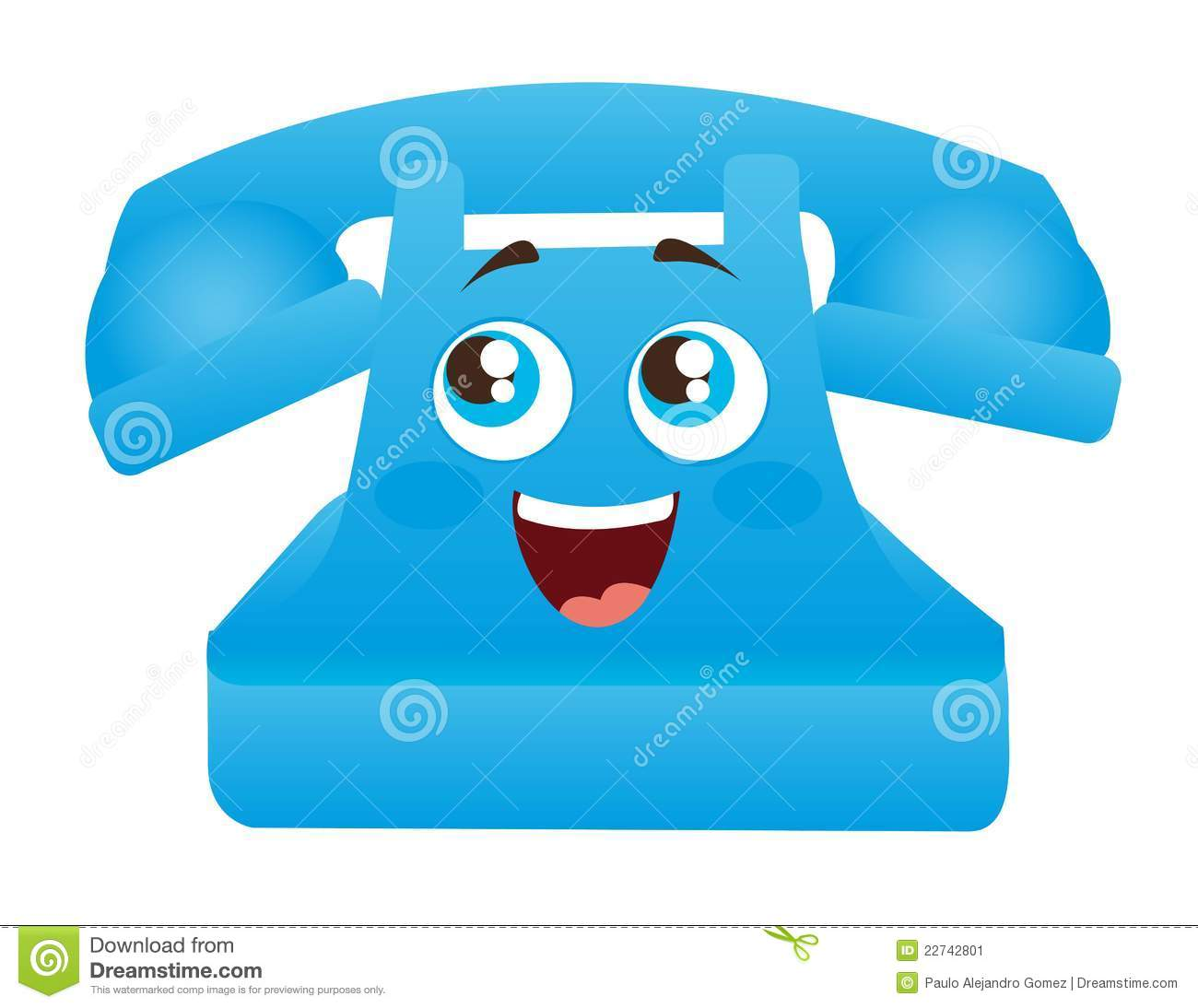 Blue telephone cartoon with eyes and mouth vector illustration.