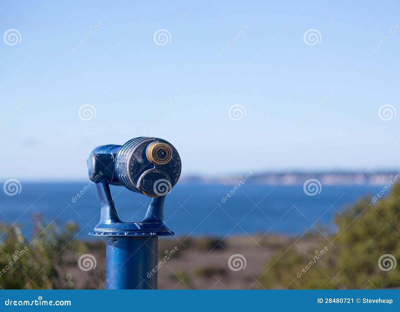 Download Blue Telescope On Coast Of Malibu Stock Image - Image of operated, outdoors: 28480721