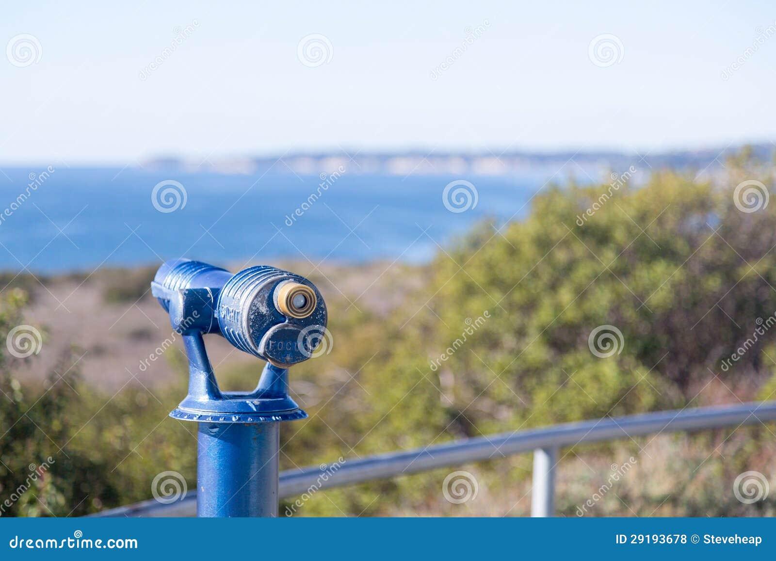 Blue telescope on coast of Malibu