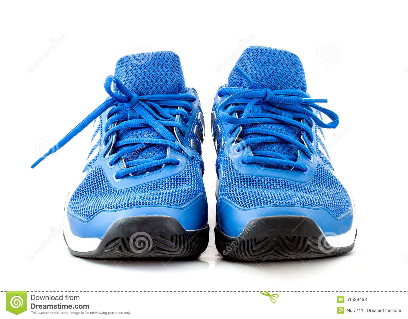 Blue Tennis Shoes On White Backgound Stock Photo - Image: 51529776