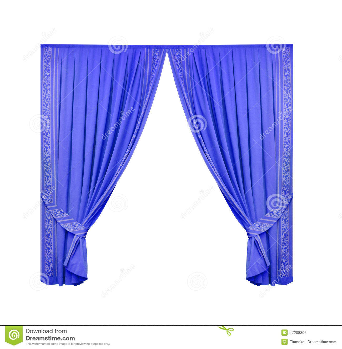 Blue theater curtain isolated on white background stock illustration