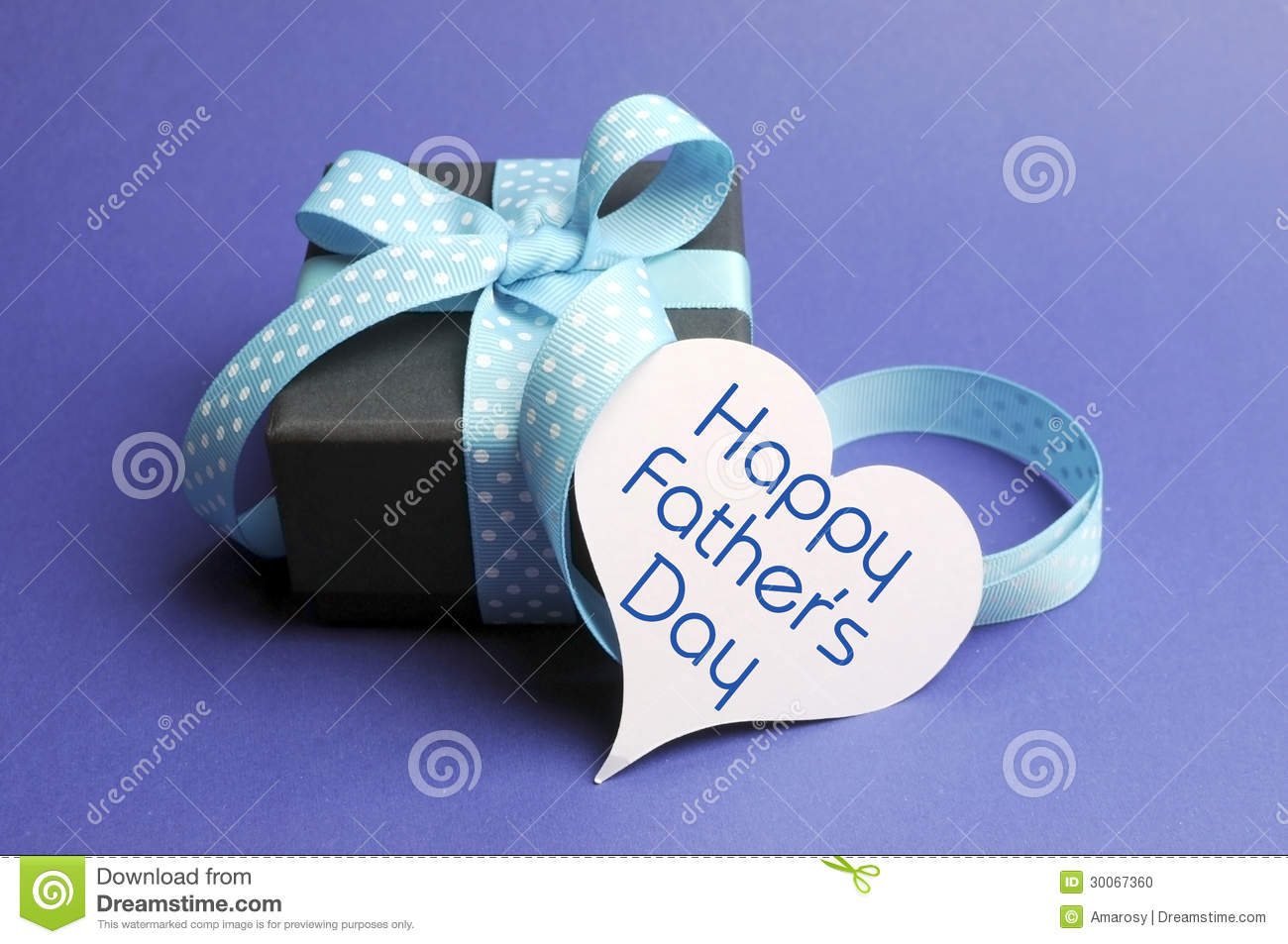 Happy Fathers Day blue theme gift and message on heart tag