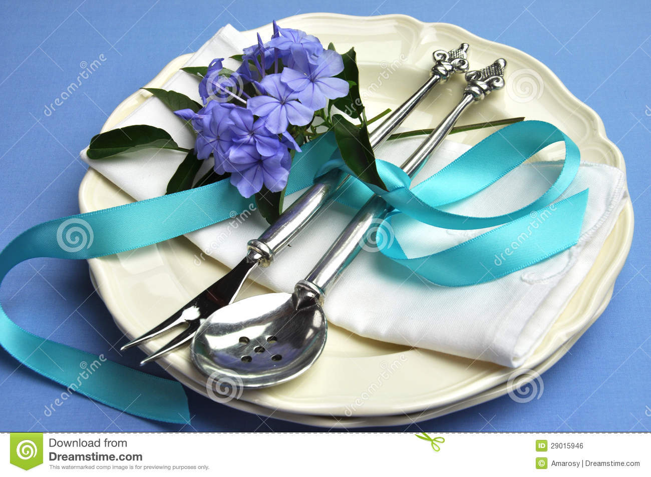 Blue Theme Formal Dinner Table Setting Royalty Free Stock