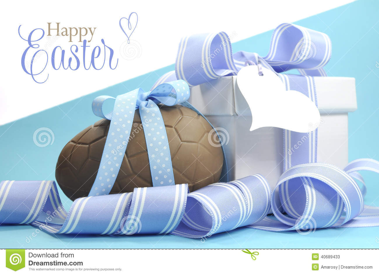 Blue Theme Happy Easter Chocolate Egg And Gift Box With