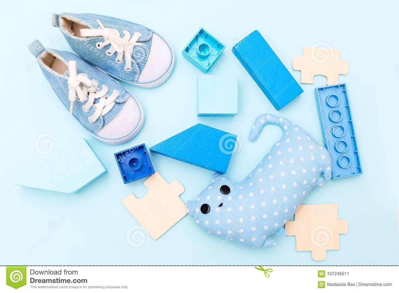 blue things for a little boy on a blue background. flat lay stock