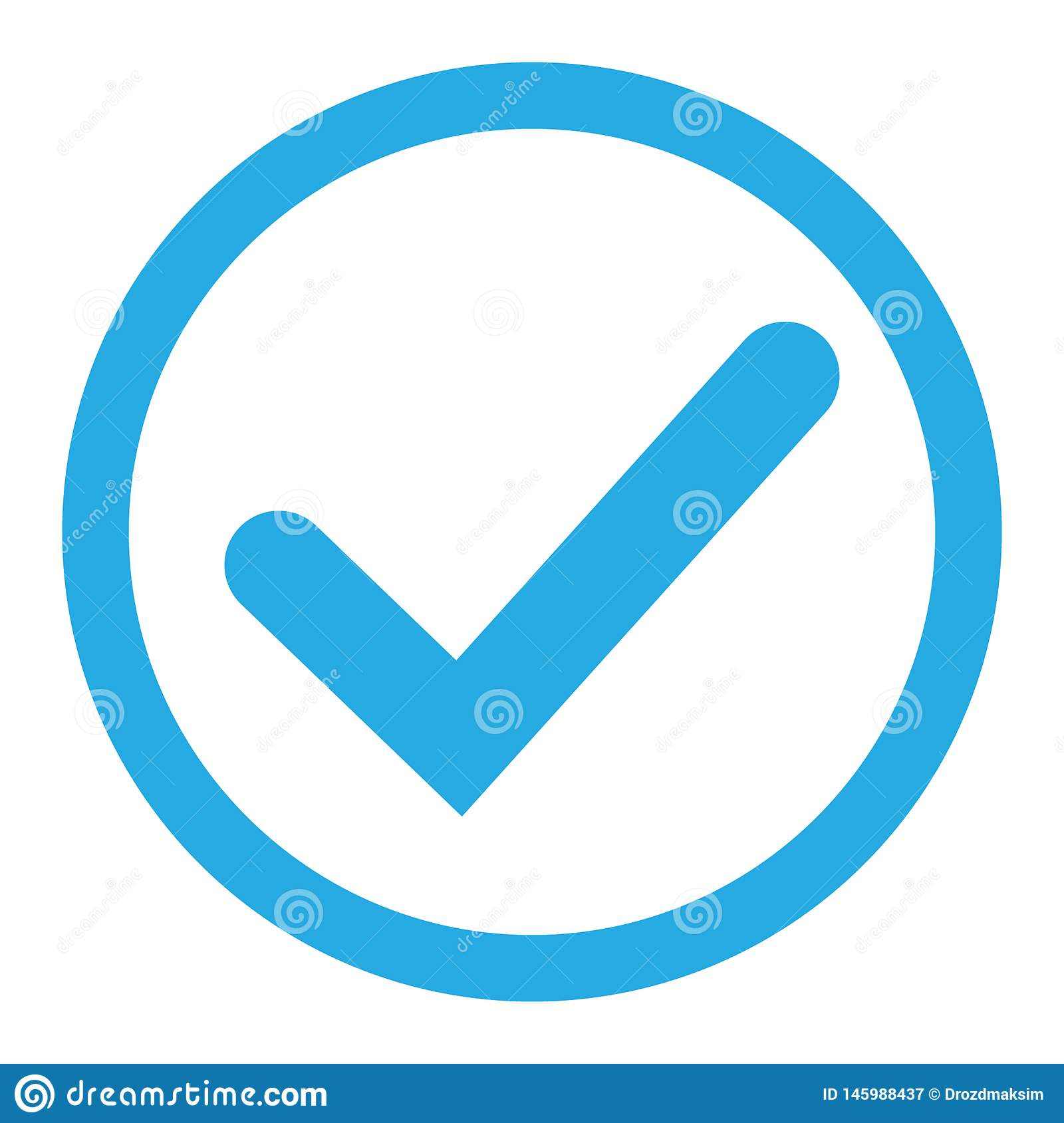 Blue tick icon vector symbol, checkmark isolated on white background, checked icon or correct choice sign, check mark or checkbox