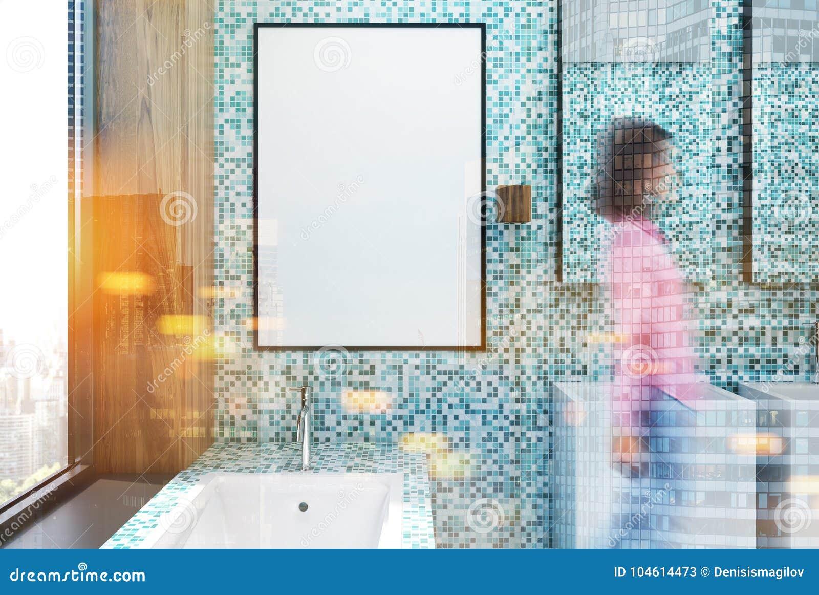 Blue Tile Bathroom Interior, Poster Toned Stock Illustration ...