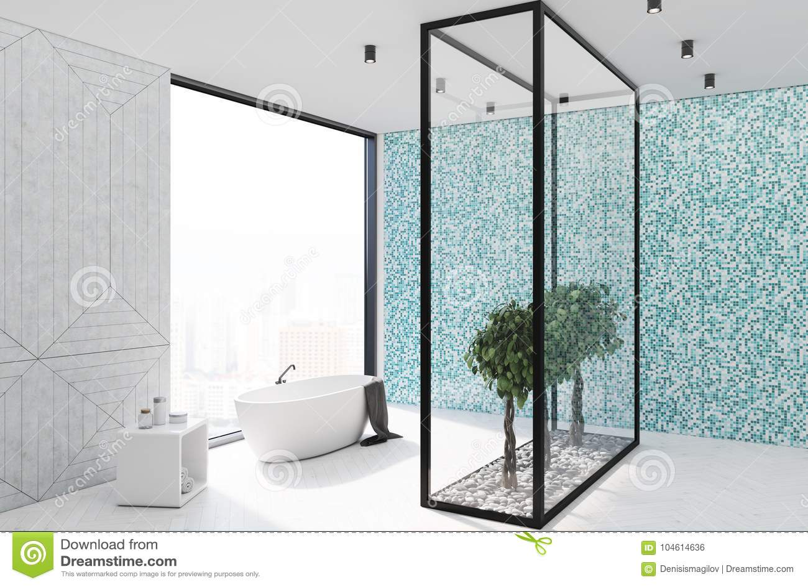 Blue tile bathroom corner stock illustration. Illustration of empty ...