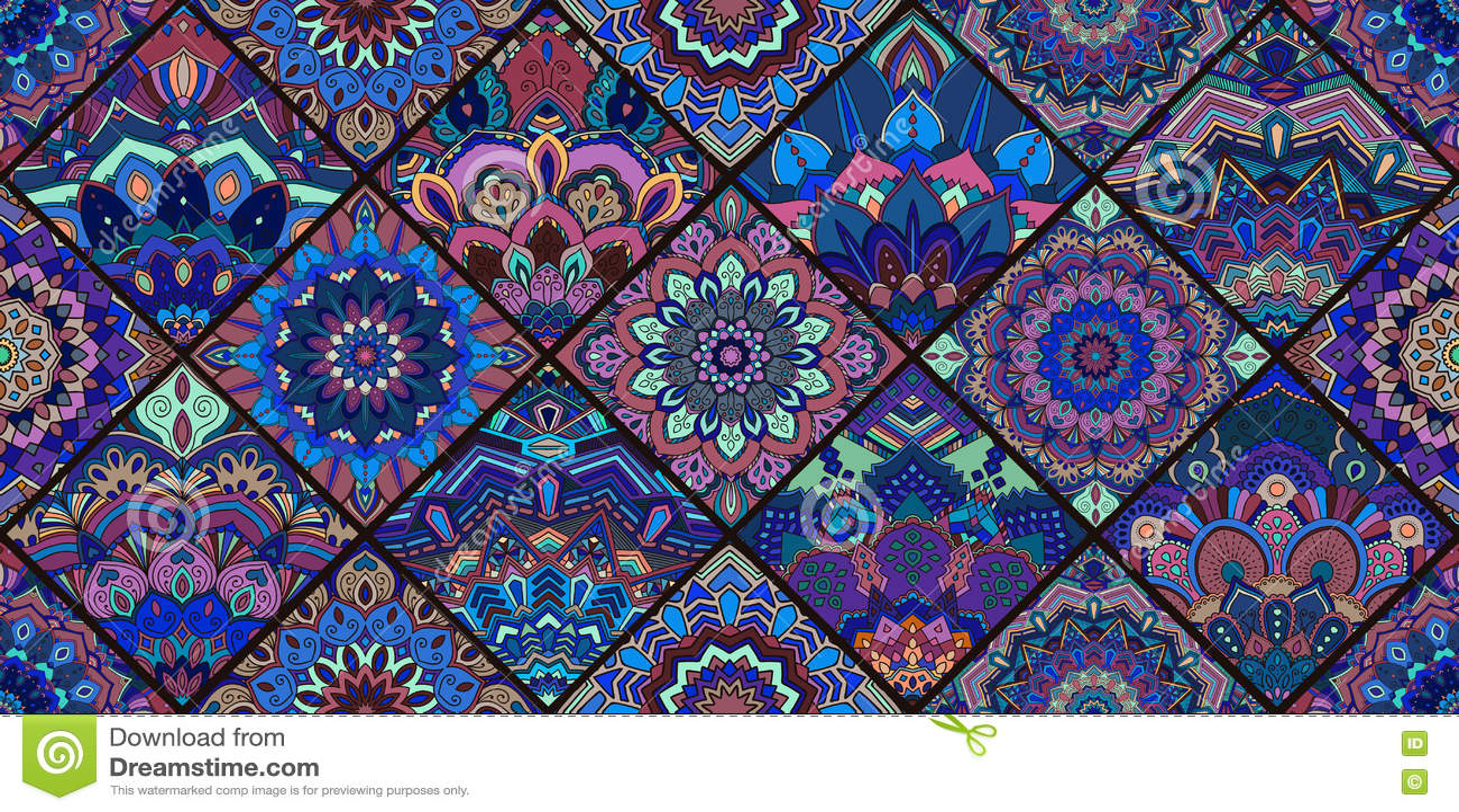 Blue Tile Mandala Pattern stock vector. Illustration of elaborate ...