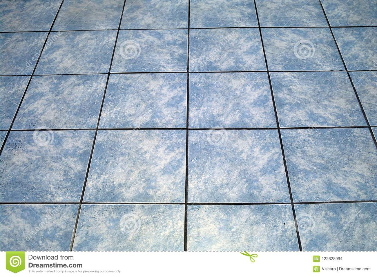 Blue Tiled Floor stock photo. Image of texture, abstract - 122628994