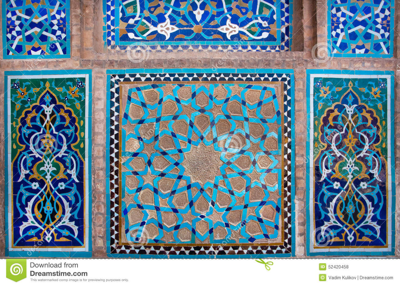 Blue Tiled Wall With Patterns Of Middle East Illustration 52420458 ...