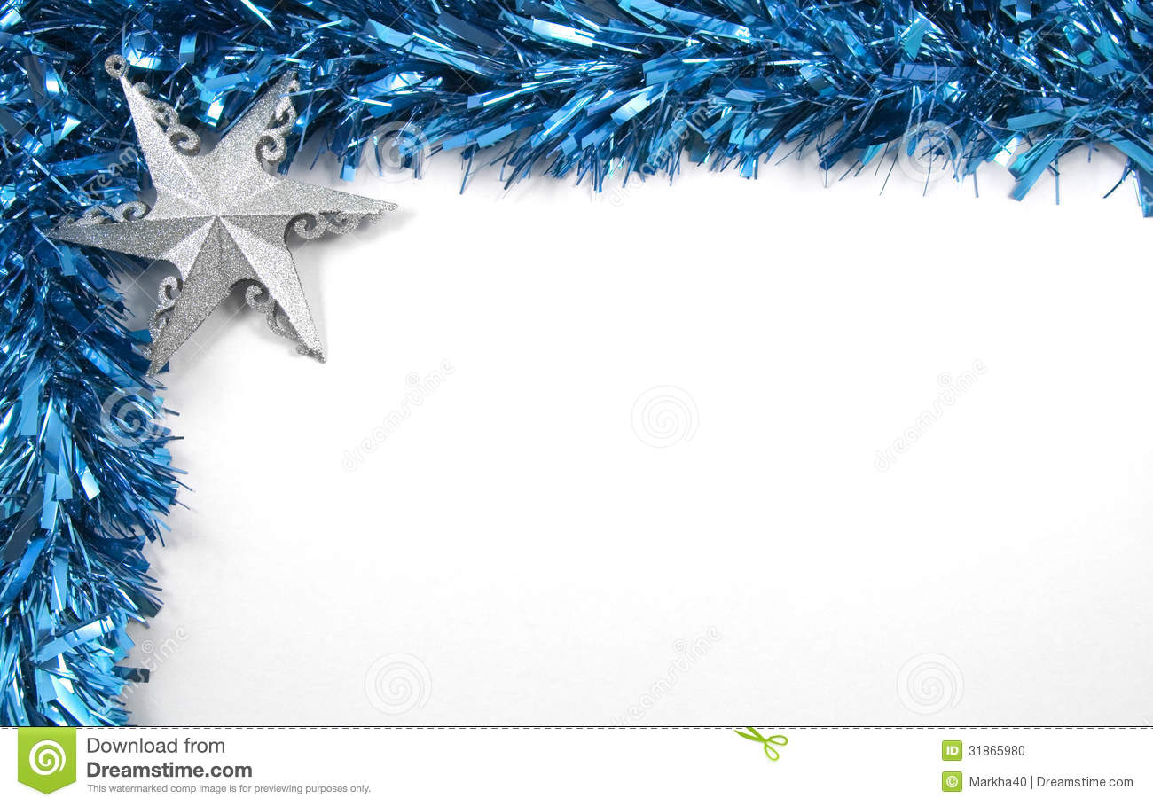 blue tinsel and star christmas decorations stock photo - Blue Christmas Decorations